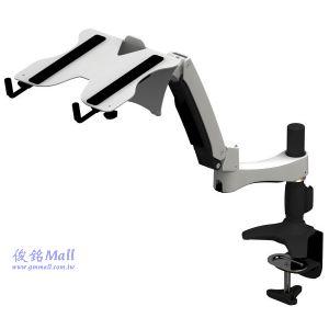雙節旋臂夾桌式液晶電腦螢幕架+筆記型電腦托架,適用15~24吋螢幕架,支臂可調整高度,(有現貨)