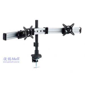 滑軌型夾桌式液晶雙螢幕架 LCD-T083,適用至27吋螢幕架,可調節傾斜以及微調角度,螢幕360度旋轉