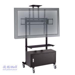可移動式液晶電視立架-附置物箱 PLAB-1035-A3,適用56~84吋,承重100KG電視架,適用視訊會議電視架/觸控電視螢幕架