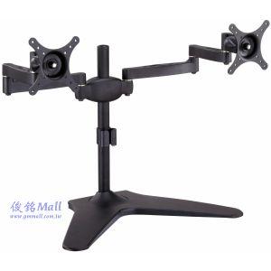 LCD-T025 雙節手臂桌上型液晶左右雙螢幕架,適用至24吋,可做俯仰30˚,可左右旋轉