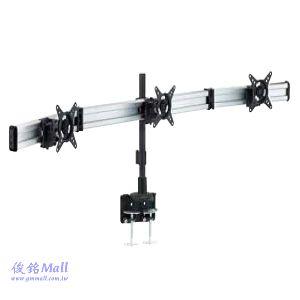 滑軌型夾桌式液晶三螢幕架 LCD-T086,適用至27吋螢幕架,可調節傾斜以及微調角度,螢幕360度旋轉