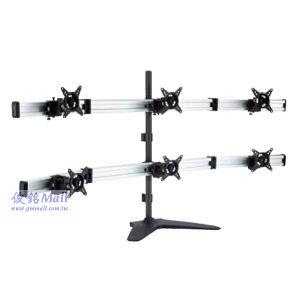 滑軌型桌上式液晶六螢幕架 LCD-T091,適用至27吋螢幕架,可調節傾斜以及微調角度,螢幕360度旋轉
