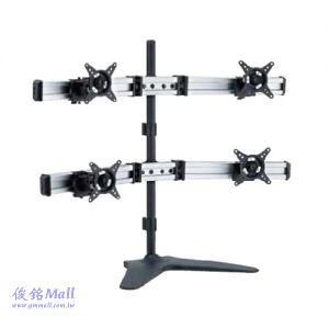 滑軌型桌上式液晶四螢幕架 LCD-T088,適用至27吋螢幕架,可微調傾斜及角度,螢幕360度旋轉