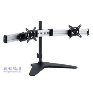 滑軌型桌上型液晶雙螢幕架 LCD-T082,適用至27吋螢幕架,可調節傾斜以及微調角度,螢幕360度旋轉